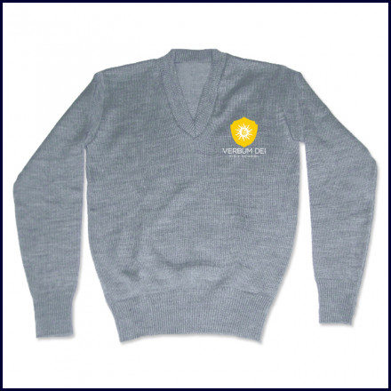 V-Neck Pullover Sweater with Embroidered Crest Logo