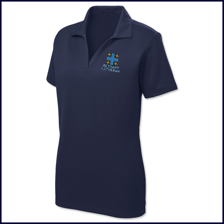 36182122c Vicki Marsha Uniforms Ladies Staff Performance Polo Shirt: Short Sleeve  with Embroidered Logo - Staff Uniforms - Bethany Lutheran Schools
