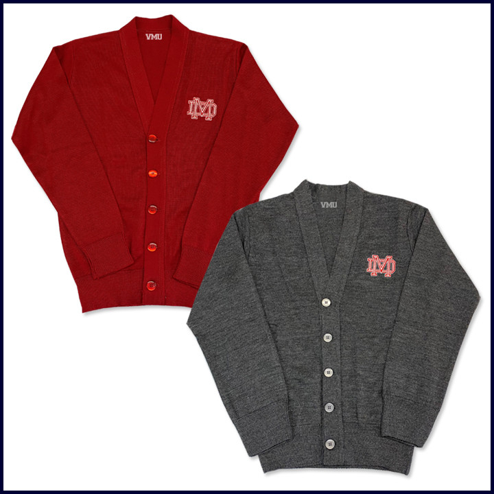 Cardigan Sweater with MD Embroidered Logo