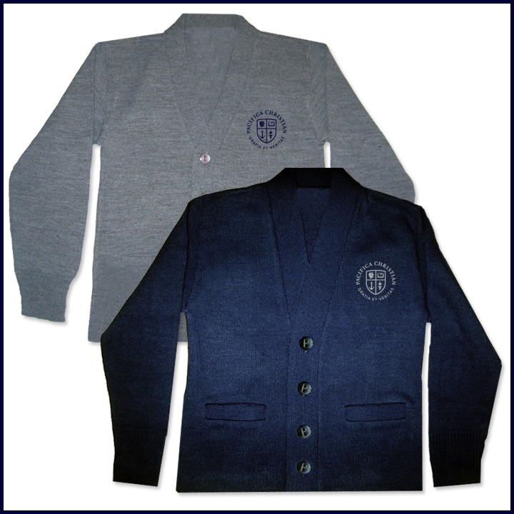 Cardigan Sweater with Crest Embroidered Logo