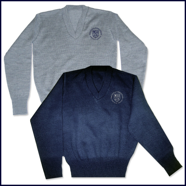V-Neck Pullover Sweater with Crest Embroidered Logo