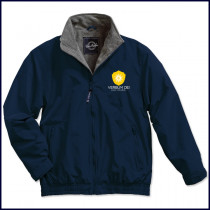 Verbum Dei Heavy Windbreaker Jacket with Embroidered Crest Logo