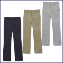 Boys Flat Front Pants with MD Embroidered Logo
