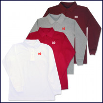 Classic Mesh Polo Shirt: Long Sleeve with MD Embroidered Logo