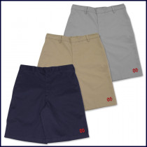 Boys Flat Front Shorts with MD Embroidered Logo