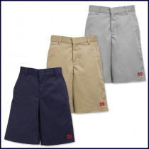 Boys Flat Front Shorts: Longer Length with MD Embroidered Logo