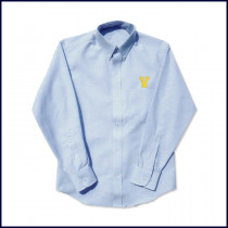 Oxford Shirt: Long Sleeve with Embroidered V Logo Above Pocket