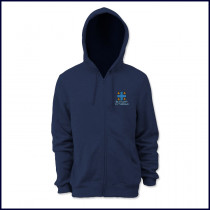 Hooded Zip Front Sweatshirt with Embroidered Logo