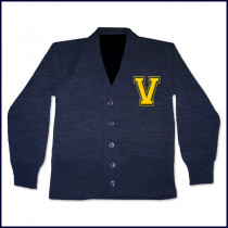 Cardigan Sweater with Tackle Twill V Logo
