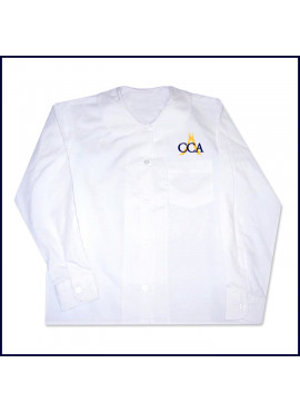 Round Collar Blouse: Long Sleeve with CCA Embroidered Logo Above Pocket
