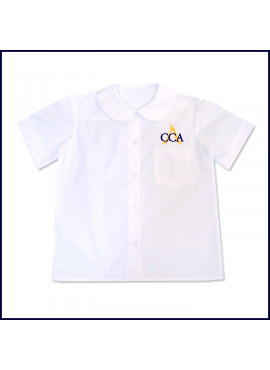 Round Collar Blouse: Short Sleeve with CCA Embroidered Logo Above Pocket