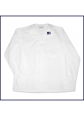 Round Collar Blouse: Long Sleeve with School Logo on Collar