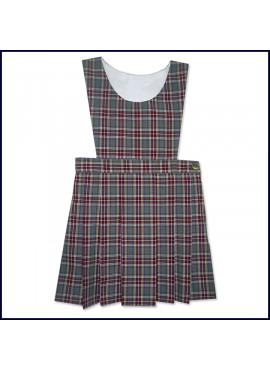 Plaid Bib Top Jumper with Flat Center Pleat Skirt: Longer Length