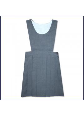 Grey Bib Top Jumper with Flat Center Pleat Skirt: Longer Length