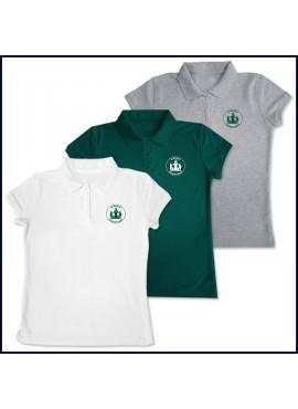 Girls Mesh Polo Shirt: Short Sleeve with Sacred Heart Logo