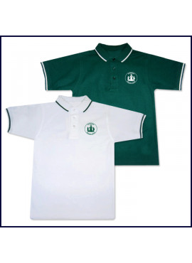Classic Mesh Polo Shirt: Short Sleeve - Striped Collar & Sleeves with Sacred Heart Logo
