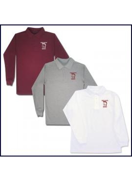 Classic Mesh Polo Shirt: Long Sleeve with School Logo
