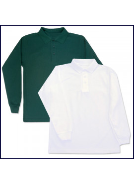 Classic Mesh Polo Shirt: Long Sleeve with School Logo