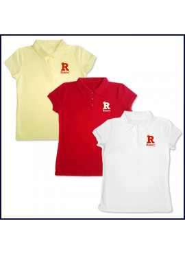 Girls Mesh Polo Shirt: Short Sleeve with Embroidered Logo