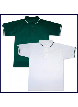 Classic Mesh Polo Shirt: Short Sleeve - Striped Collar & Sleeves with School Logo