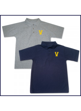 Classic Mesh Polo Shirt: Short Sleeve with Embroidered V Logo
