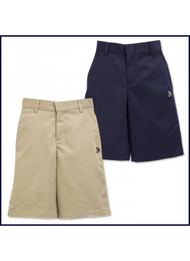 Flat Front Shorts: Longer Length with SJB Embroidered Logo