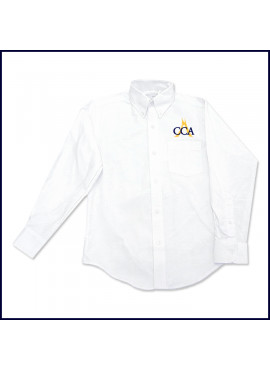 Oxford Shirt: Long Sleeve with Embroidered Logo Above Pocket