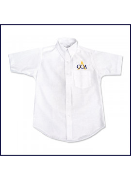 Oxford Shirt: Short Sleeve with Embroidered Logo Above Pocket