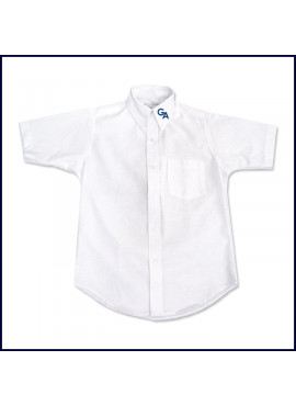 Oxford Shirt: Short Sleeve with GA Logo on Collar