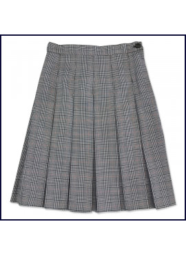 Stitched Down Box Pleat Skirt with Elastic Back Waistband
