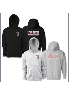 Hooded Zip Front Sweatshirt with School Logo on Chest & Large Bethel Baptist Warrior Logo on Back