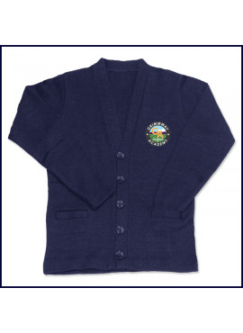 Cardigan Sweater with School Emblem