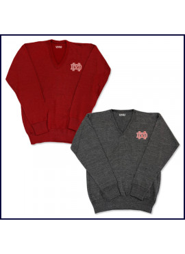 V-Neck Pullover Sweater with MD Embroidered Logo