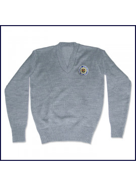 V-Neck Pullover Sweater with Embroidered Logo