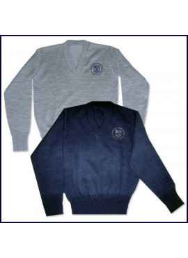 V-Neck Pullover Sweater with Embroidered PCHS Crest Logo